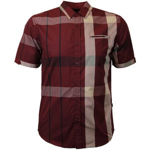V834 VENO PLAID SHORT SLEEVE SHIRT BURGUNDY - Yabu Fashion