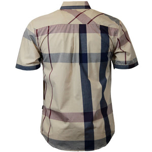 V834 VENO PLAID SHORT SLEEVE SHIRT KHAKI - Yabu Fashion