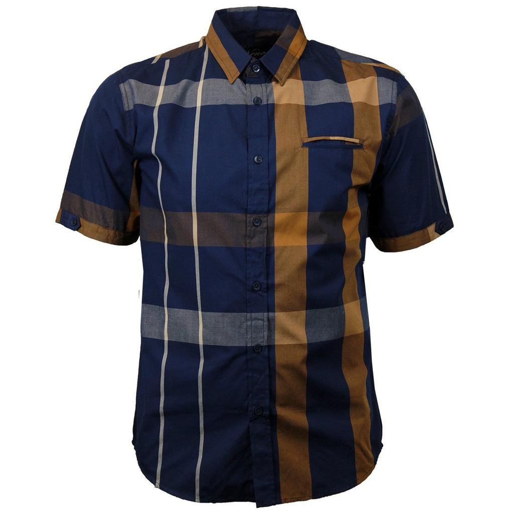 V834 VENO PLAID SHORT SLEEVE SHIRT NAVY - Yabu Fashion