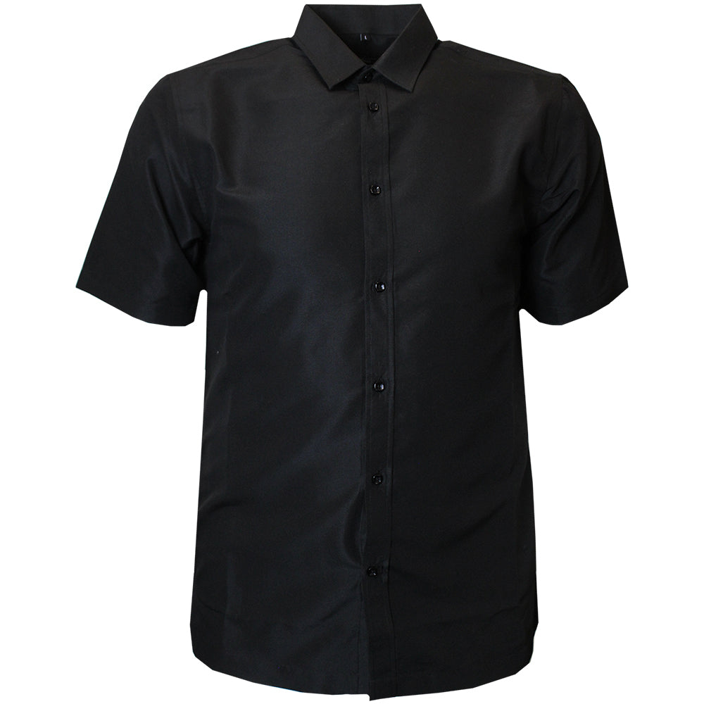 V900 VENO POLY SOLID SHIRT - BLACK - Yabu Fashion