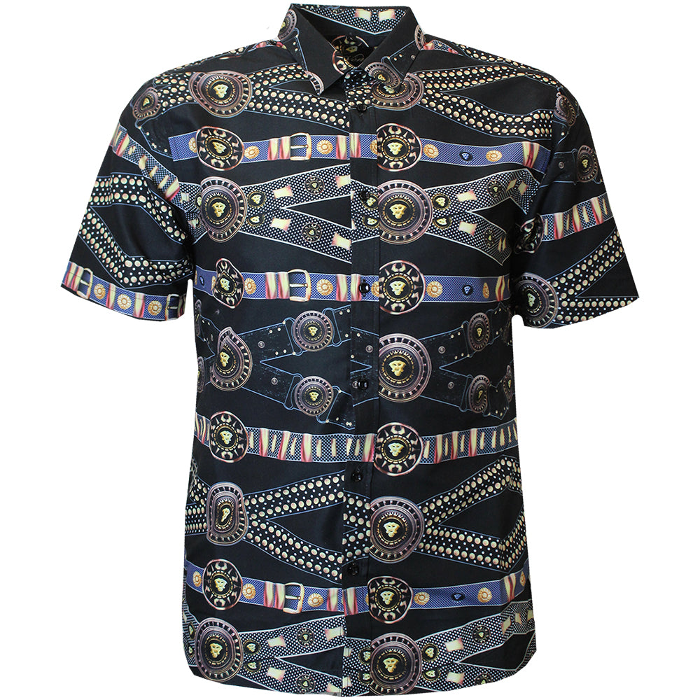 V915 VENO POLY PRINTED SHIRT - BLACK - Yabu Fashion