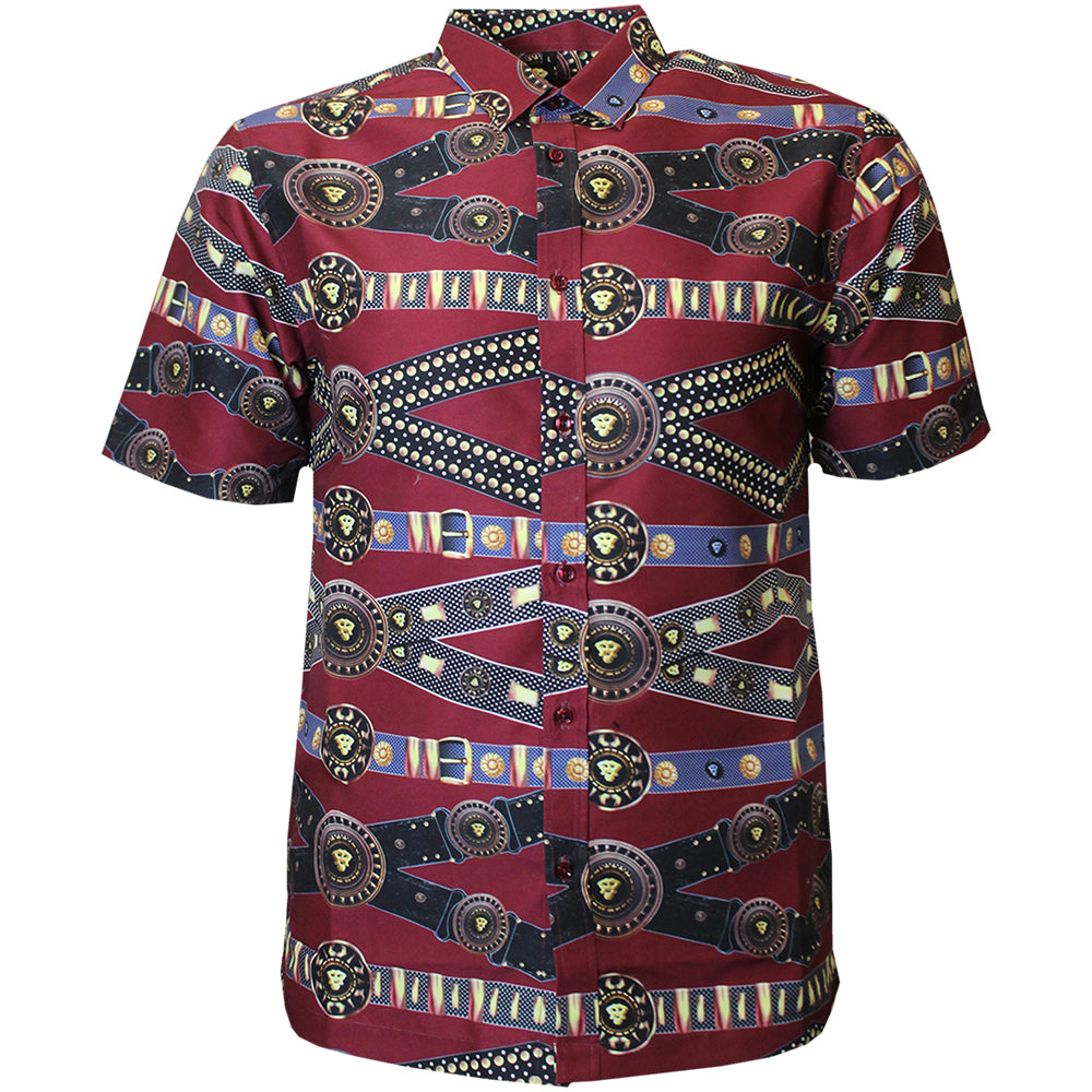 V915 VENO POLY PRINTED SHIRT - BURGUNDY - Yabu Fashion