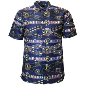 V915 VENO POLY PRINTED SHIRT - NAVY - Yabu Fashion