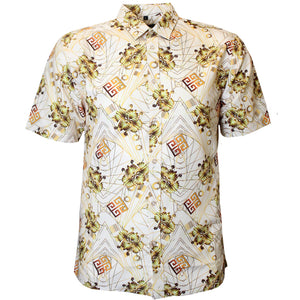 V956 VENO POLY PRINTED SHIRT - NATURAL - Yabu Fashion