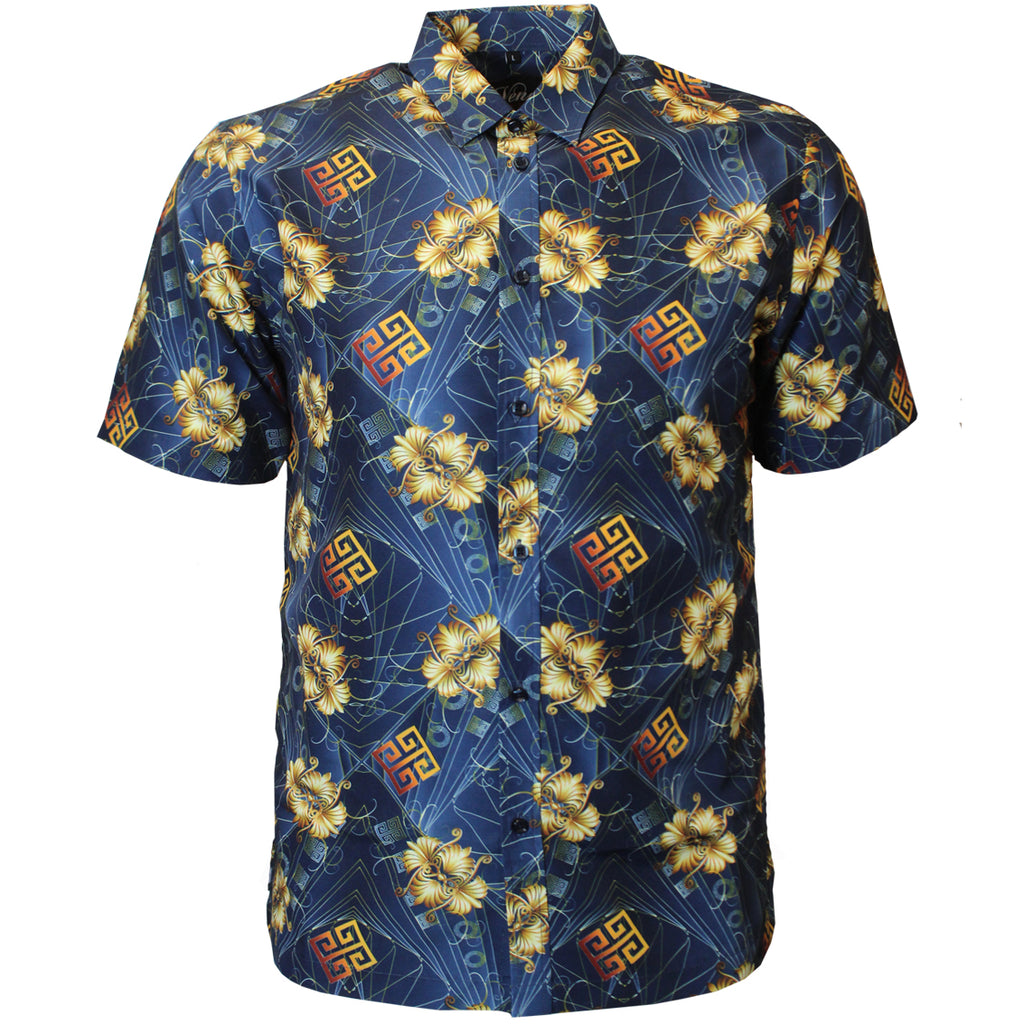 V956 VENO POLY PRINTED SHIRT - NAVY - Yabu Fashion