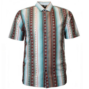 V971 VENO POLY PRINTED SHIRT - BURGUNDY - Yabu Fashion