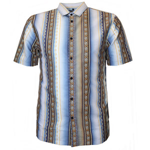 V971 VENO POLY PRINTED SHIRT - NAVY - Yabu Fashion