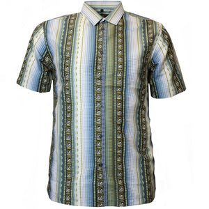 V971 VENO POLY PRINTED SHIRT - OLIVE - Yabu Fashion