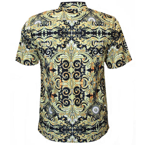 V988 VENO POLY PRINTED SHIRT - GOLD - Yabu Fashion