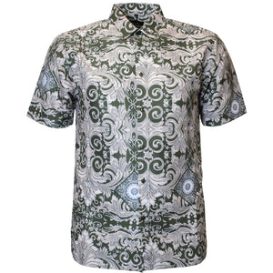 V988 VENO POLY PRINTED SHIRT - OLIVE - Yabu Fashion