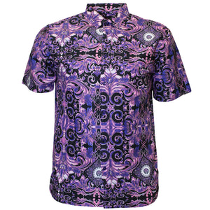 V988 VENO POLY PRINTED SHIRT - PURPLE - Yabu Fashion