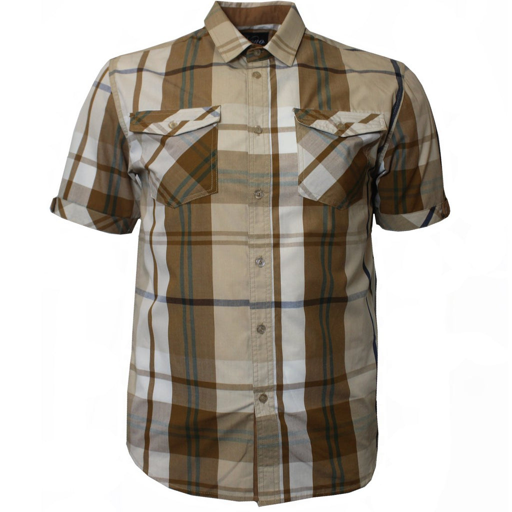 V825 VENO PLAID SHIRT KHAKI - Yabu Fashion