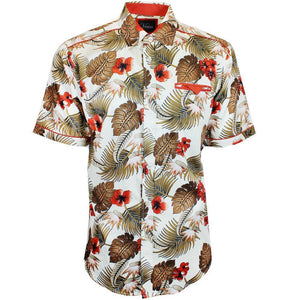 V824 SHORT SLEEVE TROPICAL PRINT SHIRT - NATURAL - Yabu Fashion
