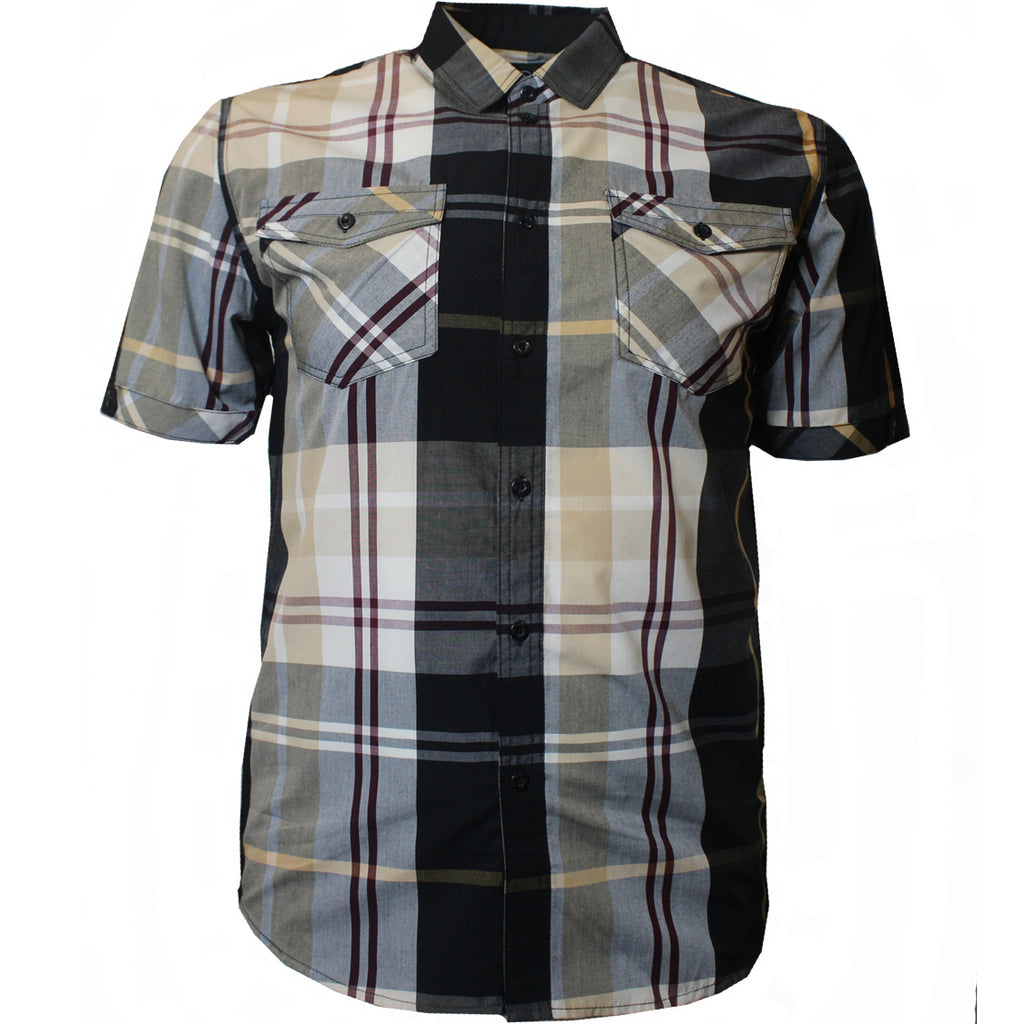 V825 VENO PLAID SHIRT BLACK / KHAKI - Yabu Fashion