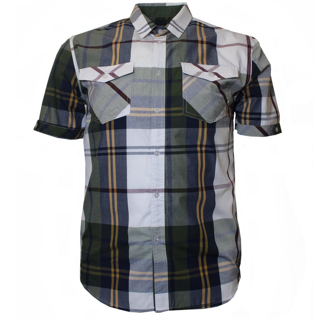 V825 VENO PLAID SHIRT OLIVE - Yabu Fashion