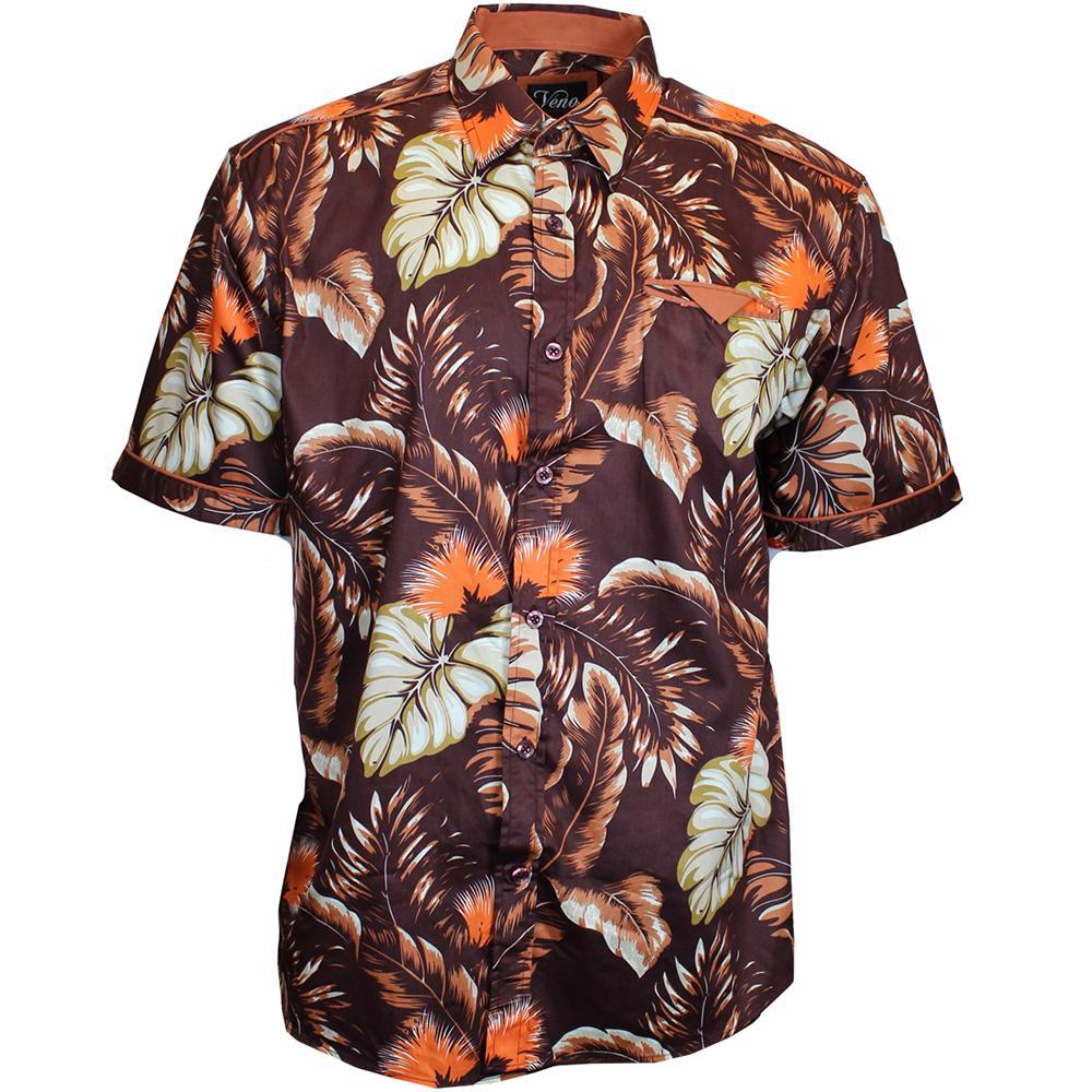 V872 SHORT SLEEVE TROPICAL PRINT SHIRT - BROWN - Yabu Fashion