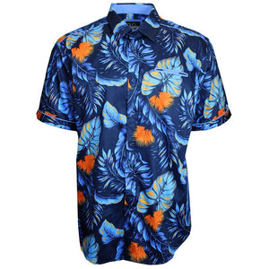V872 SHORT SLEEVE TROPICAL PRINT SHIRT - NAVY - Yabu Fashion