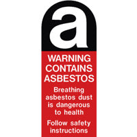 Asbestos Warning Sticker. 60mm X 145mm.