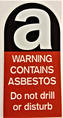 Asbestos Warning Sticker. 50mm X 100mm.