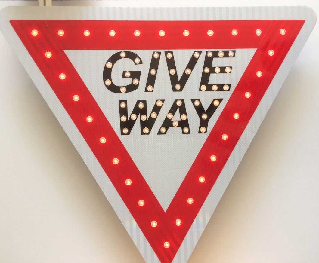 Solar LED Triangle Give Way Flashing sign
