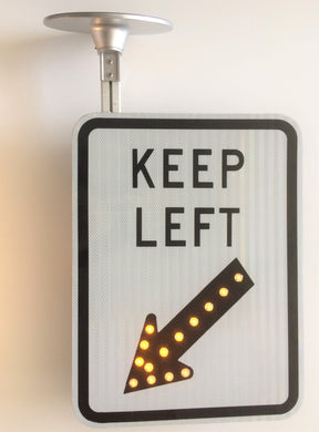 Solar LED Keep Left Flashing Sign