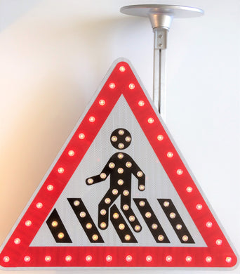 Solar Triangle Pedestrian LED Flashing Sign