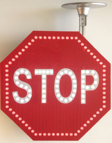 Solar LED Traffic STOP Flashing Sign