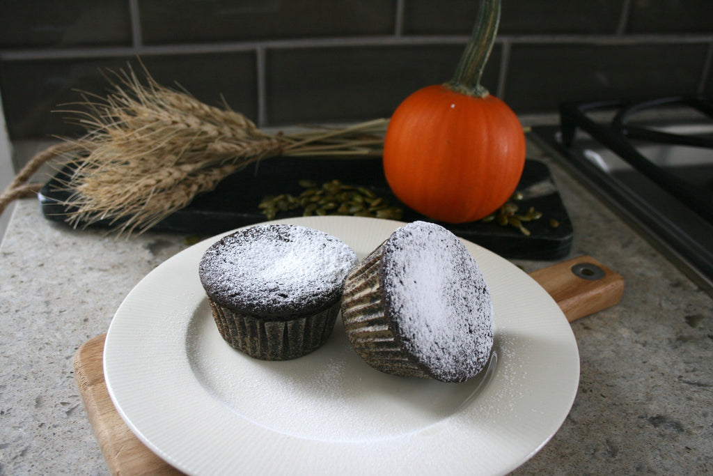 Pumpkin Seed Butter Cup Chocolate Muffins