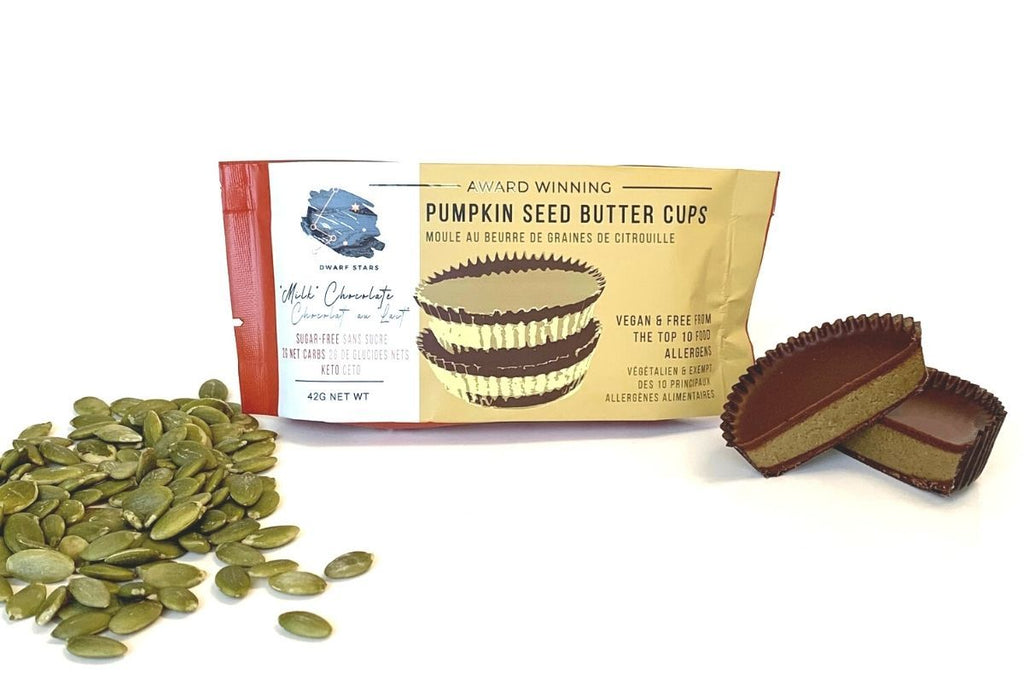 Vegan & Keto Sugar Free Milk Chocolate Pumpkin Seed Butter Cups