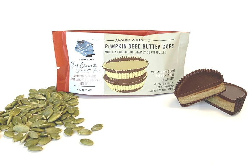Vegan & Keto Sugar Free Dark Chocolate Pumpkin Seed Butter Cups
