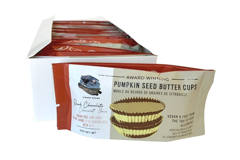 Vegan & Keto Sugar Free Dark Chocolate Pumpkin Seed Butter Cups - Case