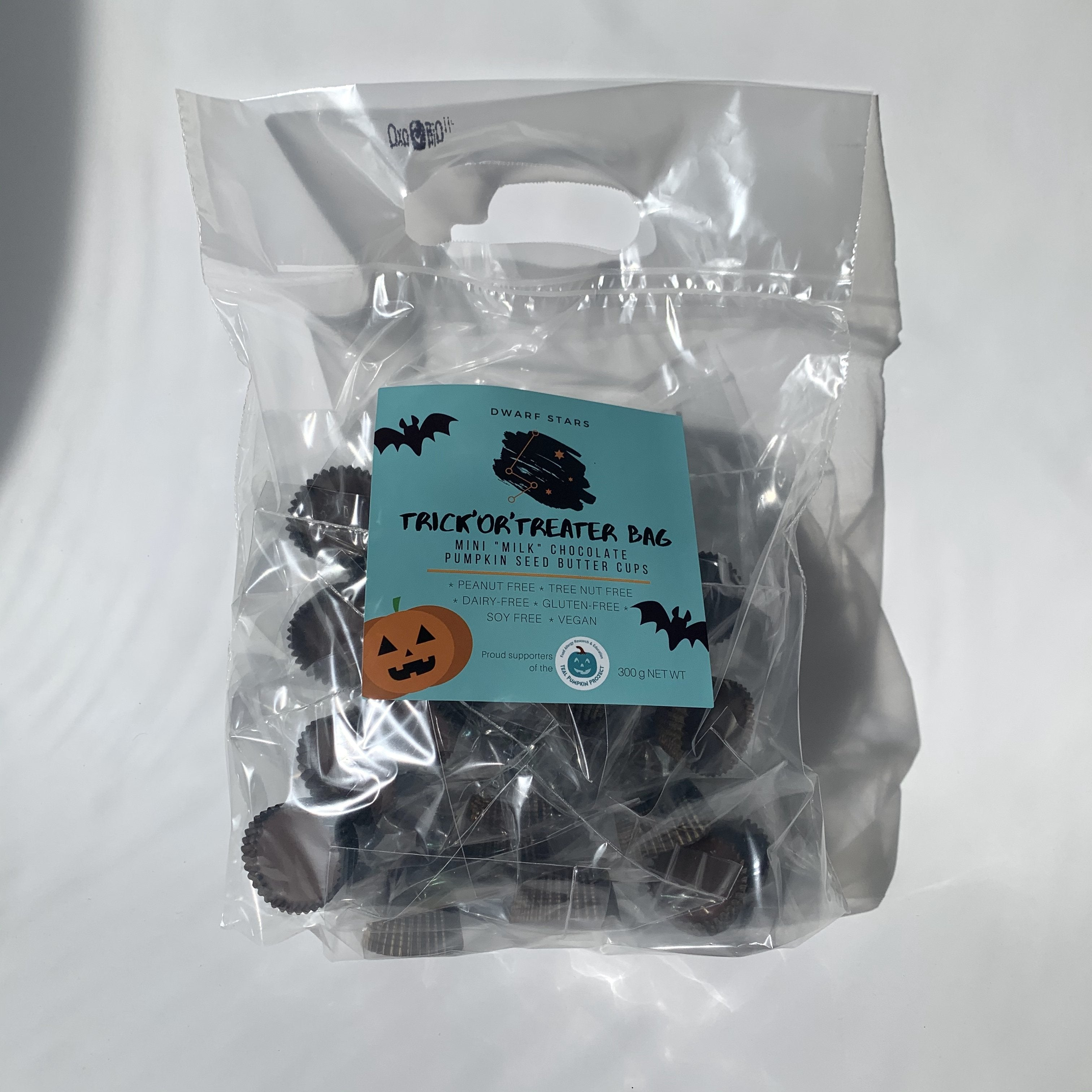 Mini Vegan Milk Chocolate Pumpkin Seed Butter Cups - Healthy Halloween Treat Bag