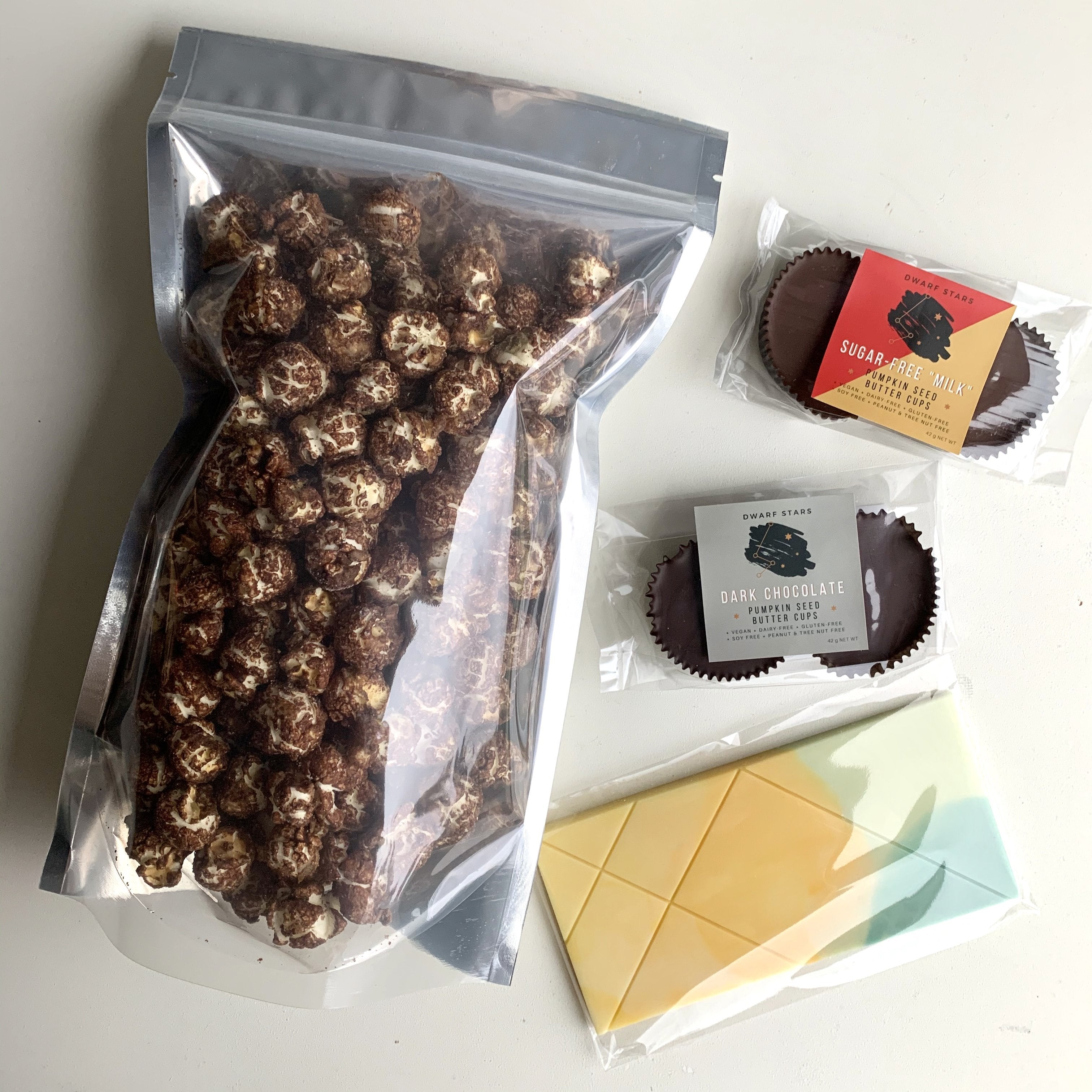 Vegan Dark Chocolate Popcorn, Vegan Chocolate Pumpkin Seed Butter Cups, Vegan White Chocolate Bar