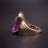 Large 18K, 14K  Amethyst & Diamond Ring