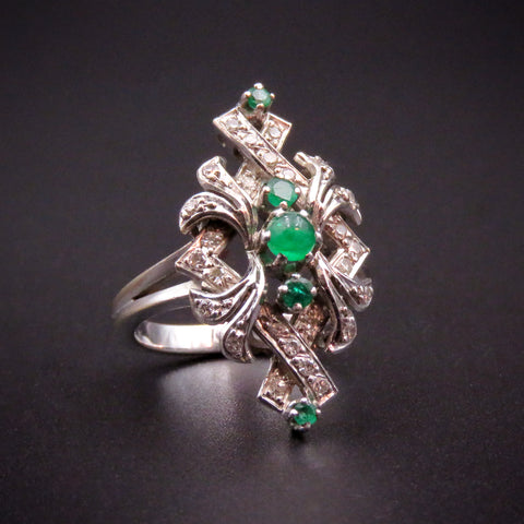 18K Gold Emerald & Diamond Mid Century Ring