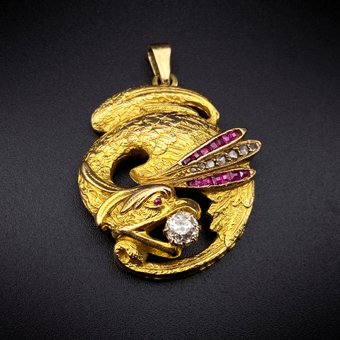 18K, Diamond & Ruby Griffin Pendant/Fob