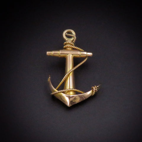 Elisa 9K Antique Gold Anchor Charm/Pendant