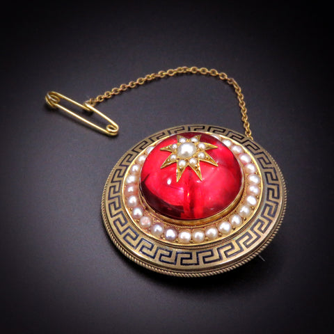 Bold 18K Archeological Revival Brooch with Locket c.1870's