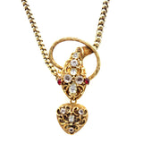 18K Chrysolite, Pink Topaz, Garnet & Tourmaline Snake & Heart Necklace in Original Box