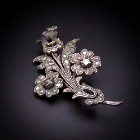 Gorgeous 18K Gold, Silver, & Diamond Flower Brooch