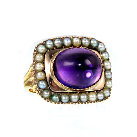 SOLD- Amethyst Cabochon and Pearl Conversion Ring 14ct