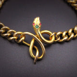 SOLD-Antique 18K Snake Bracelet with Emerald & Ruby Accents