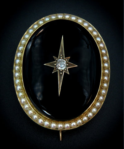 Onyx Diamond Centered Brooch in 22K Gold with Seed Pearls