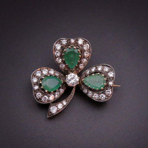 18K Gold, Silver, Diamond & Emerald Shamrock Brooch