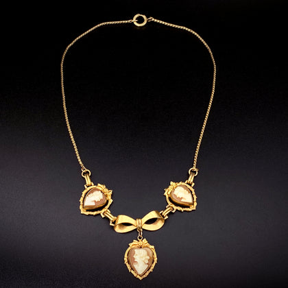 Victorian Revival 12K Gold-Filled Triple Cameo Necklace