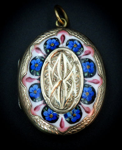 "Gold ""Front and Back"" Late-Victorian White Enamel Periwinkle Locket"