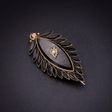 SOLD Early Victorian 9K, French Jet & Seed Pearl Mourning Brooch