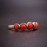 Victorian 10K Gold & Five Stone Coral Band Ring