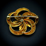 Victorian 18K Gold Wreath Pin With Foliat Enameling