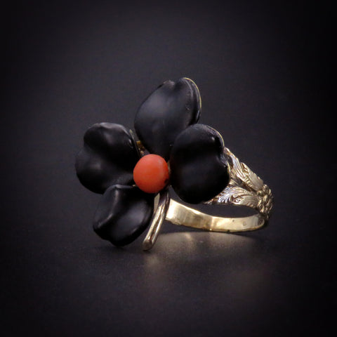Black Half-Mourning Flower Conversion Ring